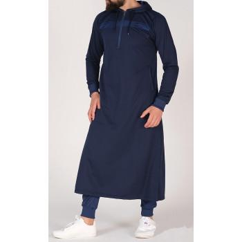 Qamis Capuche Bleu Nuit et Bande Bleu Qaba'il : Vortex Léger