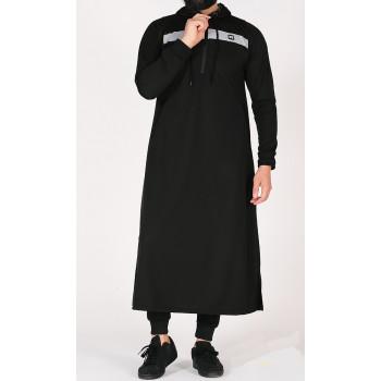 Qamis Capuche Noir et Bande Grise Qaba'il : Vortex Léger