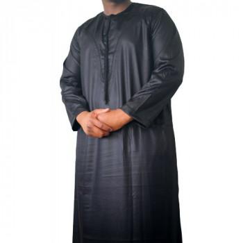 Qamis Omani Noir- Manche Longue - Sans Col - Tissu Glacé - Qamis Sultan