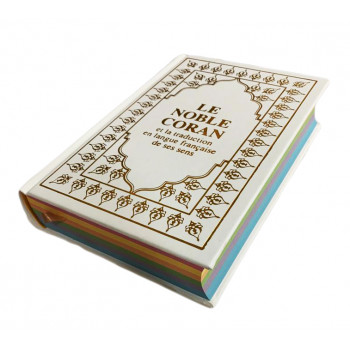 Le Saint Coran Blanc - Couverture Daim - Pages Arc-En-Ciel - Français-Arabe - Sana