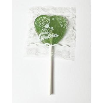 Grande Sucette Coeur Vert - Pomme - Bonbon Halal