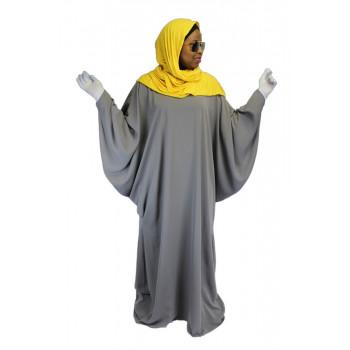 Robe Gris El Bassira - Arbaya Papillon - Modèle F WP - Tissus Tissus Wool Peach n° 19 - Couleur Unis