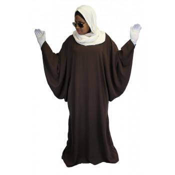 Robe Marron El Bassira - Arbaya Papillon - Modèle F WP - Tissus Tissus Wool Peach n° 3 - Couleur Unis