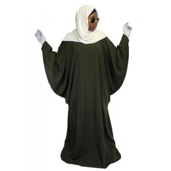 Robe Kaki El Bassira - Arbaya Papillon - Modèle F WP - Tissus Wool Peach n° 38 - Couleur Unis