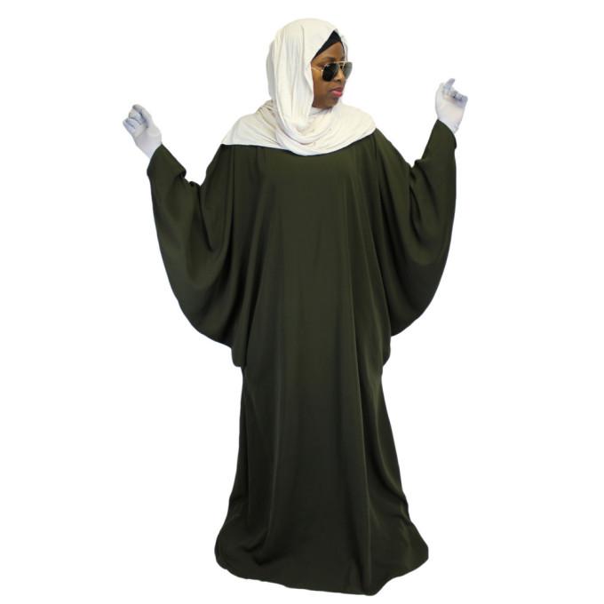 Robe Kaki El Bassira - Arbaya Papillon - Modèle F WP - Tissus Tissus Wool Peach n° 38 - Couleur Unis