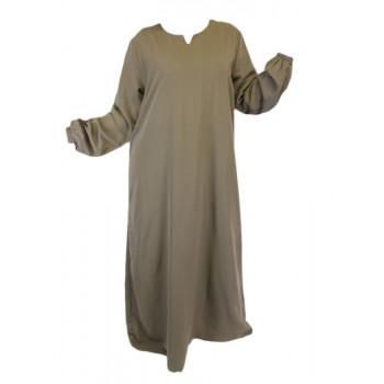 Robe Beige El Bassira - Arbaya Simple - Modèle HE WP - Tissus Wool Peach n°11 - Couleur Unis
