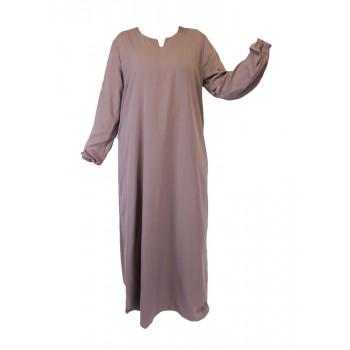 Robe Brun Rose El Bassira - Arbaya Simple - Modèle HE WP - Tissus Wool Peach n°7 - Couleur Unis