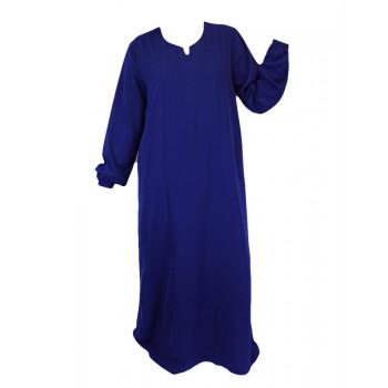 Robe Bleu Roi El Bassira - Arbaya Simple - Modèle HE WP - Tissus Wool Peach n°27 - Couleur Unis
