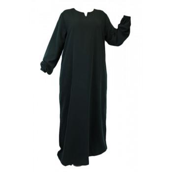 Robe Vert Sapin El Bassira - Arbaya Simple - Modèle HE WP - Tissus Wool Peach n°57 - Couleur Unis