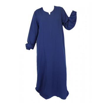 Robe Bleu El Bassira - Arbaya Simple - Modèle HE WP - Tissus Wool Peach n°28 - Couleur Unis