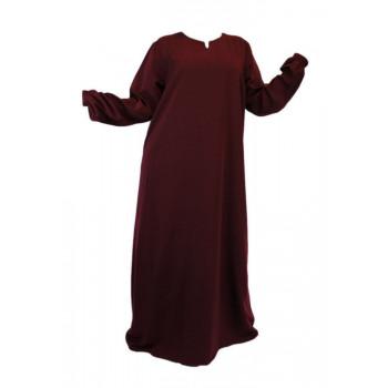 Robe Bordeaux Foncé El Bassira - Arbaya Simple - Modèle HE WP - Tissus Wool Peach n°9 - Couleur Unis