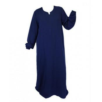 Robe Bleu Nuit El Bassira - Arbaya Simple - Modèle HE WP - Tissus Wool Peach n°95 - Couleur Unis