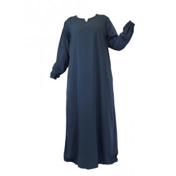 Robe Gris Canard El Bassira - Arbaya Simple - Modèle HE WP - Tissus Wool Peach n°30 - Couleur Unis