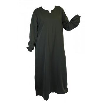 Robe Vert Bouteille El Bassira - Arbaya Simple - Modèle HE KHO - Tissus Koshibo n°40 - Couleur Unis