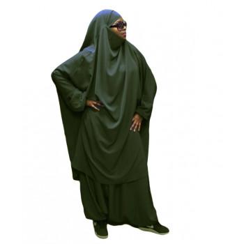 Jilbeb El Bassira - 2 Pièces : Cape + Sirwal - Tissus Wool Peach - n° 52 - Vert Kaki