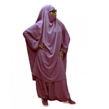 Jilbeb El Bassira - 2 Pièces : Cape + Sirwal - Tissus Wool Peach - n°174 - Rose Poudré