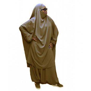 Jilbeb El Bassira - 2 Pièces : Cape + Sirwal - Tissus Wool Peach - n°11 - Taupe