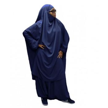 Jilbeb El Bassira - 2 Pièces : Cape + Sirwal - Tissus Koshibo Léger - n°30 - Bleu Nuit