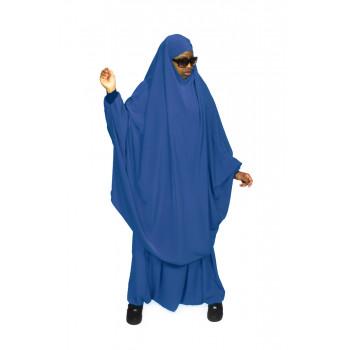 Jilbab Bleu - 2P Cape + Sirwal - N - Jilbeb Al Manassik
