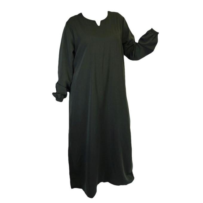 Robe Vert Trés Foncé El Bassira - Arbaya Simple - Modèle HE WP - Tissus Wool Peach n°1 - Couleur Unis