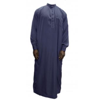 Qamis Gris Foncé coupe droite avec pantalon Afaq : bouton col et manches