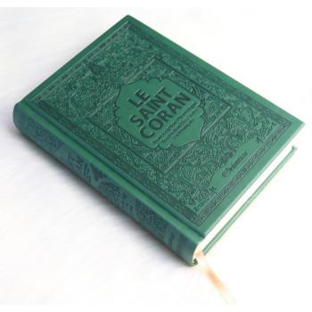 Le Saint Coran - Arabe / Français / Phonétique - Edition De Luxe - Couverture En Daim Couleur Vert Sapin