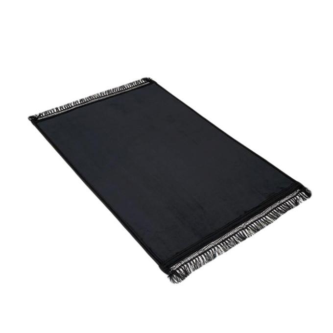 Grand Tapis de Prière - Noir - Uni Sans Motif - Molletonné, Épais et Très Doux - Confortable et Anti-Dérapant