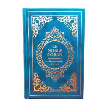 Le Noble Coran Bleu Caraîbes Doré - Edition de Luxe Couverture Daim - Index des Sourates - Français-Arabe - Orientica