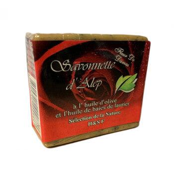 Savonnette d'Alep - Fleur à Rose de Damas - Huile d'Olive et Huile de Baies de Laurier - 100 gr