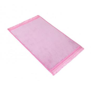 Grand Tapis de Prière - Rose - Uni Sans Motif - Molletonné, Épais et Très Doux - Confortable et Anti-Dérapant