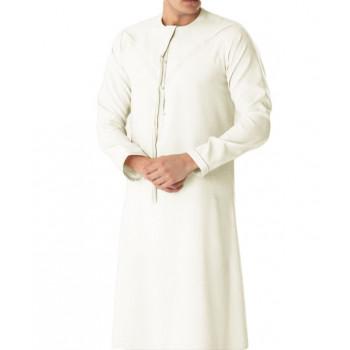 Qamis Omani Blanc Cassé - Manche Longue - Sans Col - Tissu Non Glacé - Qamis Sultan