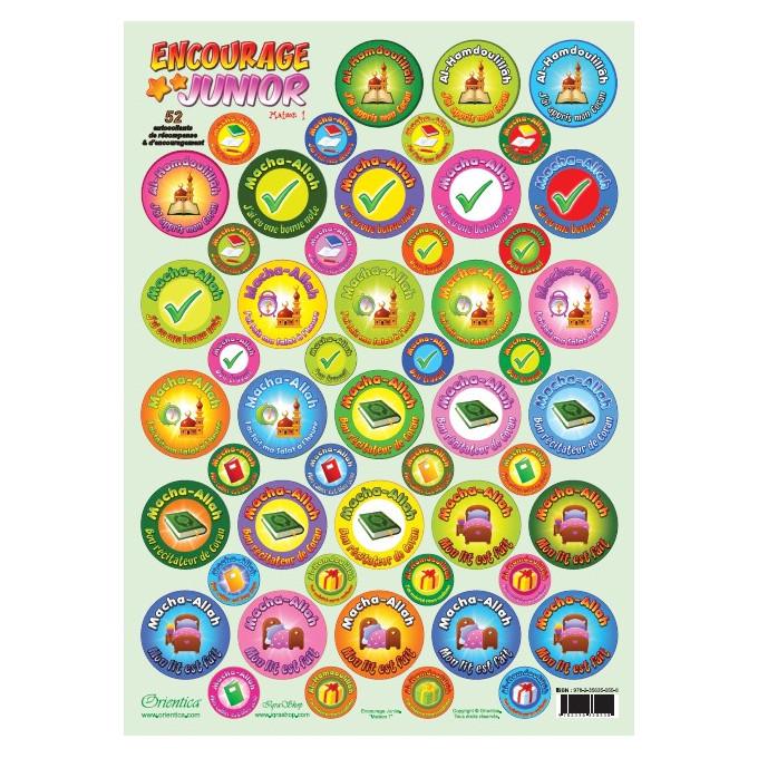 Stikers Encourage Junior - Maison n° 1 - Plaque de 52 Autocollants de Récompense et d'Encouragement