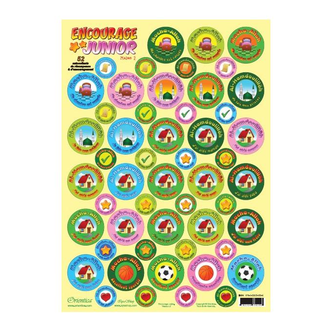 Stikers Encourage Junior - Maison n° 2 - Plaque de 52 Autocollants de Récompense et d'Encouragement