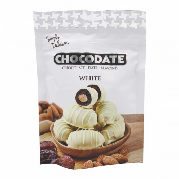 Datte Enrobé de Chocolat Blanc avec une Amande - Chocolat Blanc - Chocodate - 100gr