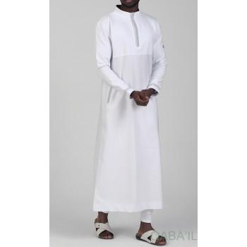 Qamis Long - Blanc et Broderie Argenté - Qaba'il : Eminence
