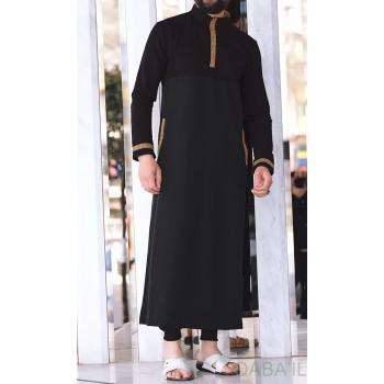 Qamis Long - Noir et Broderie Doré - Qaba'il : Eminence