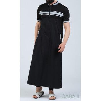 Qamis Manche Courte Noir et Gris Qaba'il : Navy III