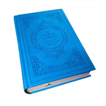 Le Noble Coran Bleu Turquoise - Edition de Luxe Couverture Daim - Index des Sourates - Français-Arabe - Orientica