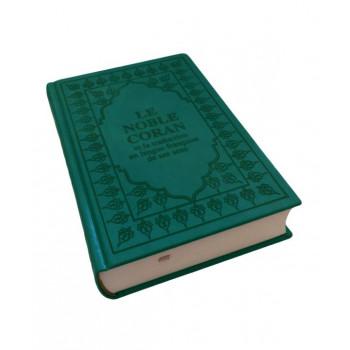 Le Saint Coran - Arabe et Français - Couverture Vert Foncé - Format de Poche 13 x 17 cm - Simili-Daim