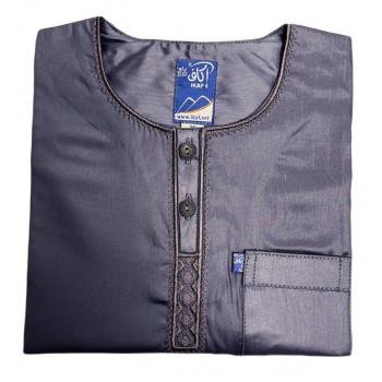 Qamis Ikaf Enfants Bleu Nuit - Manche Longue - Sans Col - Tissu Glacé - du 24 au 42