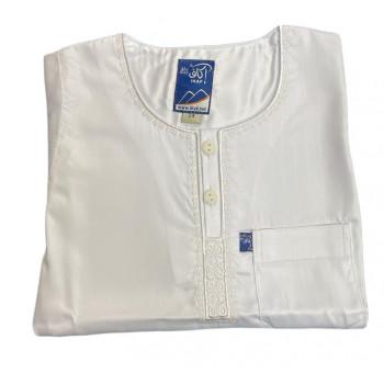 Qamis Ikaf Enfants Blanc -  Manche Longue - Sans Col - Tissu Glacé - du 24 au 42