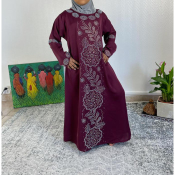 Abaya Fille Dubai Enfant - Bordeaux