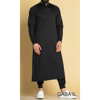 Qamis Long avec Saroual - Noir - Qaba'il : Longline