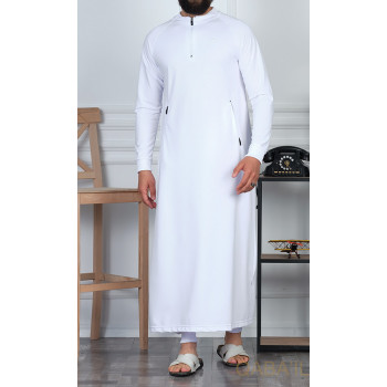 Qamis Long avec Saroual - Blanc - Qaba'il : Longline