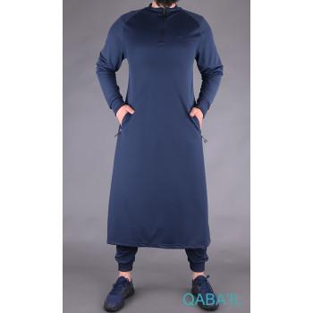 Qamis Long avec Saroual - Bleu Nuit - Qaba'il : Longline