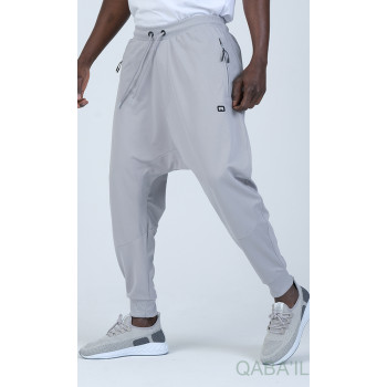 Sarouel Jogging - Tissu Léger - Coupe Semi Droite - Gris Clair Qaba'il : Sarouel Léger CSD