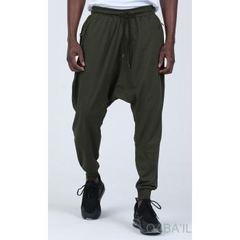 Sarouel Jogging - Tissu Léger - Coupe Semi Droite - Kaki Qaba'il : Sarouel Léger CSD