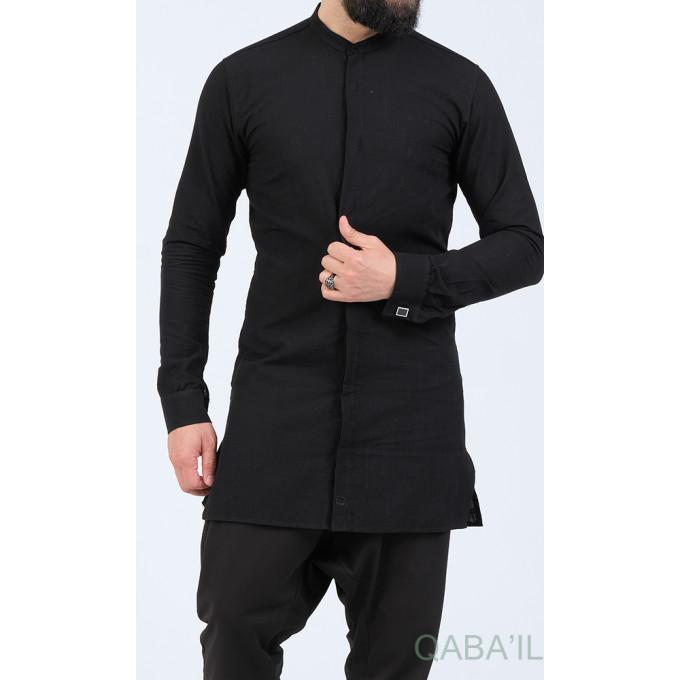 Chemise Ultra Légere Col officier - Noir - Qaba'il