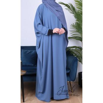 Abaya Papillon - Bleu Jean - Microfibre Léger - Jamila