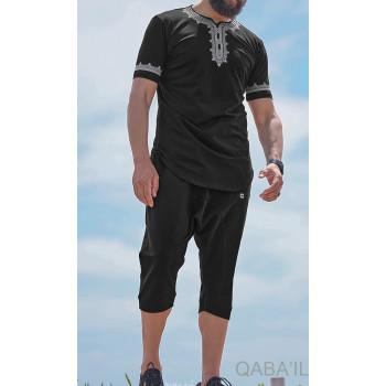 Ensemble Etniz - T-Shirt et Saroual - Noir - Qaba'il : Manches Courtes et Pantacourt